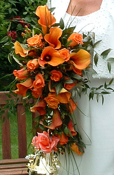 Orange Rose & Calla Lily Shower Bouquet