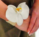 Orchid/Pearl Wrist Corsage