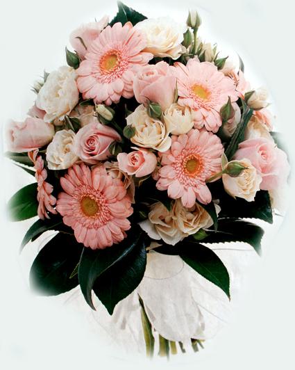 Pink Rose & Gerbera Hand-Tied