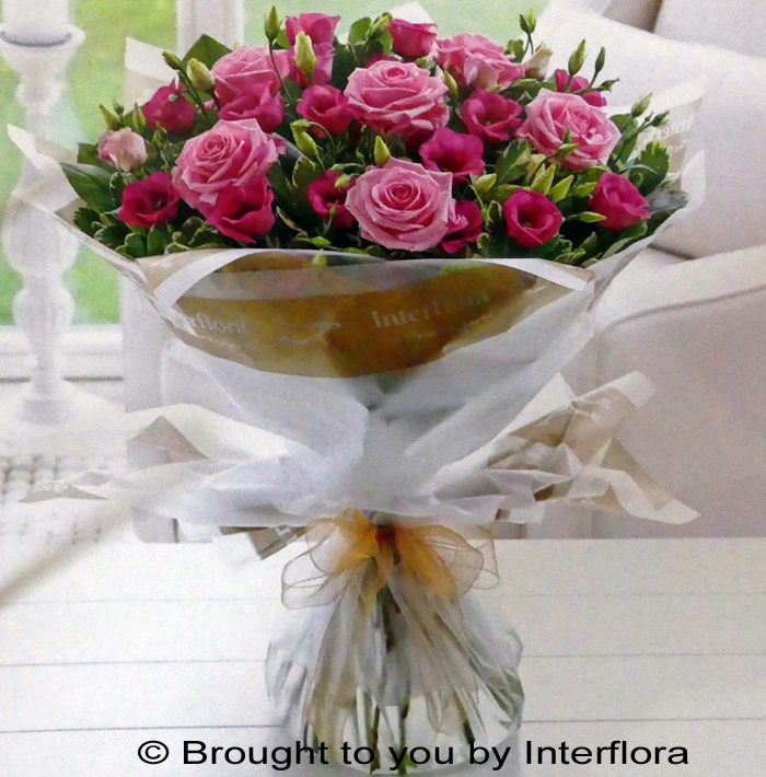 Pink Lisianthus & Rose Handtied: £47.00