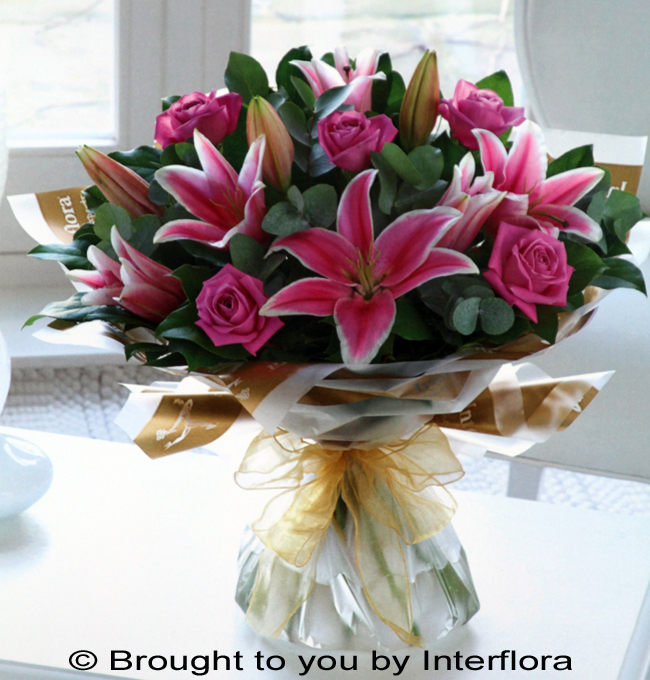 Pink Rose & Lily Hand-Tied - LARGE: £55.00