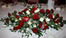 Red Rose Long-Low Table Arrangement