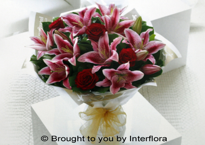 Red Rose, Pink Lily Hand-Tied: £40.00
