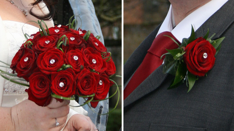 Red Rose & Diamonte Posy & Matching Buttonhole