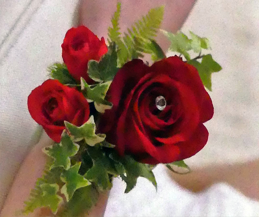 Red Rose & Diamonte Wrist Corsage