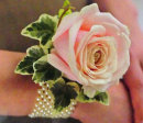 Pink Rose/Pearl Wrist Corsage