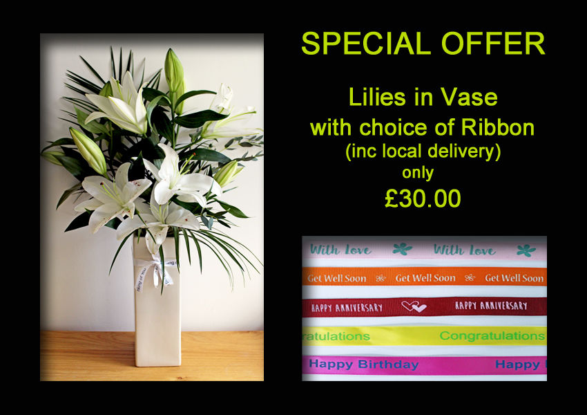 SPECIAL OFFER - Lilies in Vase + Ribbon £30