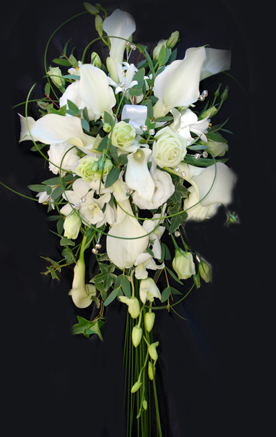 White Rose & Calla Lily Shower Bouquet