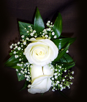 Double White Rose & Gypsophilia Corsage