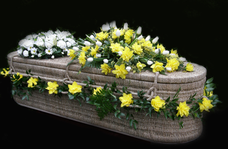 Decorated Wicker Casket <br> Daffodils & Tulips