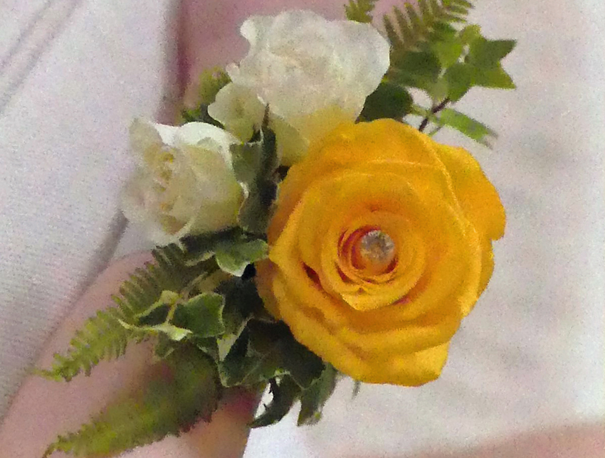 Yellow Rose & Diamonte Wrist Corsage