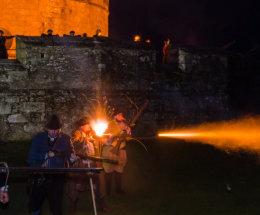 Nighttime musket display