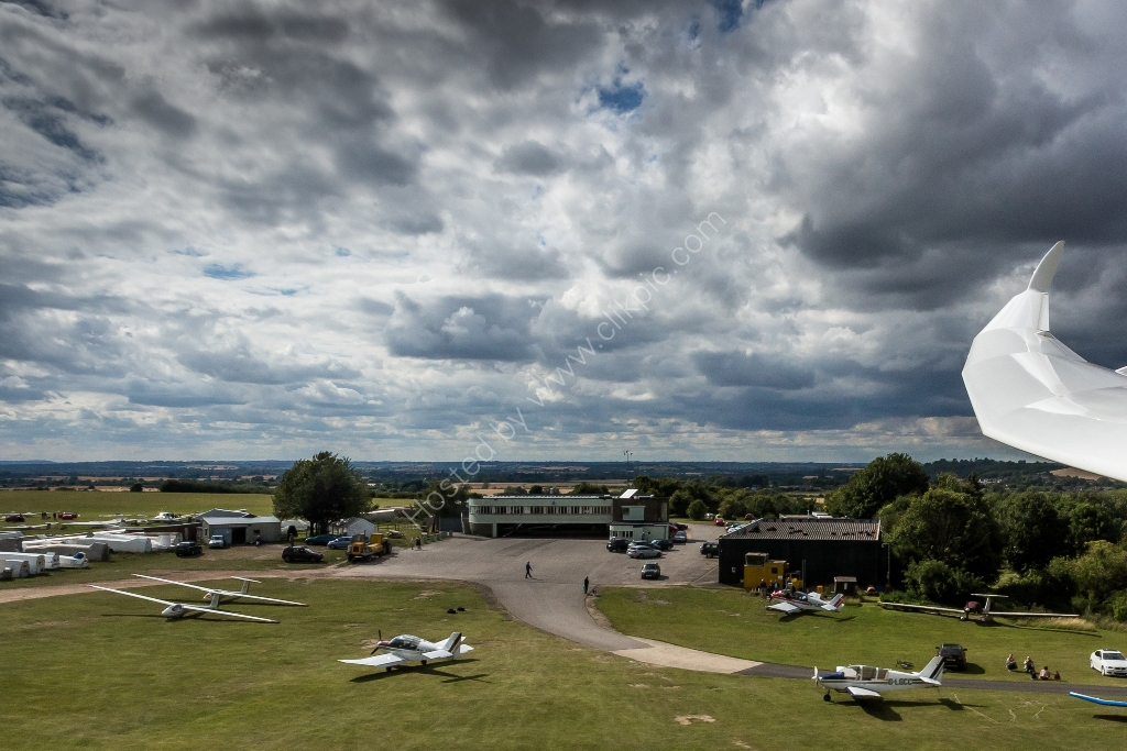The London Gliding Club apron, hangars and clubhouse