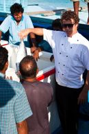 Head chef negotiating over the tuna catch of the day