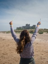 Bamburgh Castle, through kite strings
