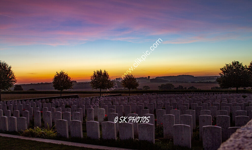 Red sky at night - Danzig Alley British Cemetery, Mametz, Somme.