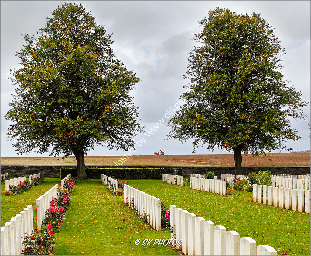 'The Great War passes....life carries on.'   Serre Road Cemetery No. 2.