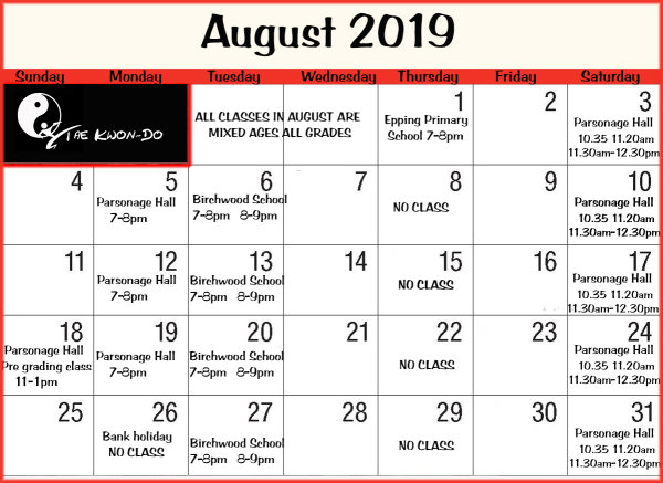 August timetable