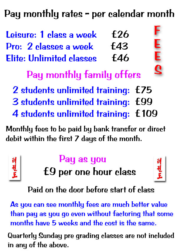Mixed class fees