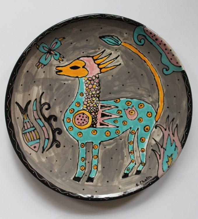 Folk art hand-painted plate £50