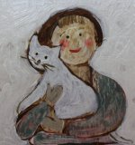 Girl with cat SOLD