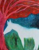 White horse by pink tree
