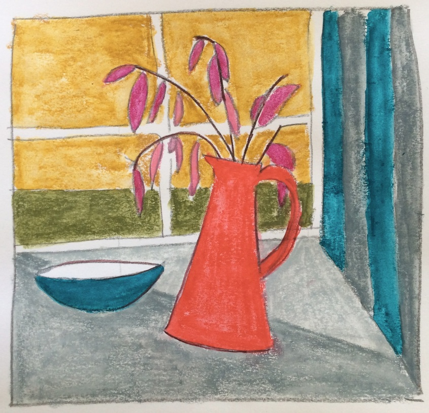 Windowsill with red jug
