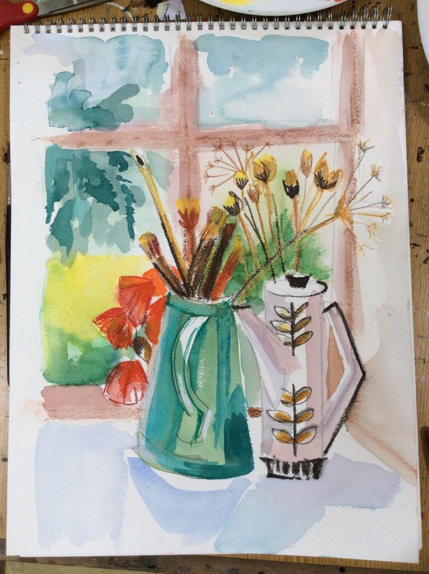 Windowsill with coffee pot