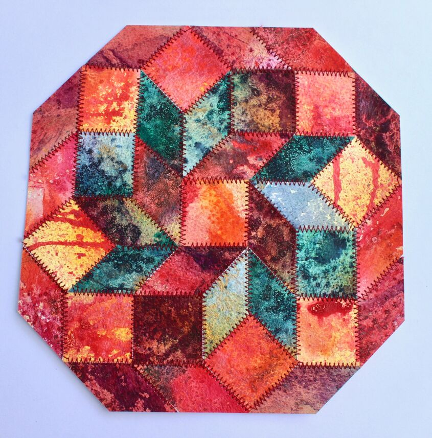 "Collage 'metallic red' 7"" x 7"" watercolour paper and embroidery"