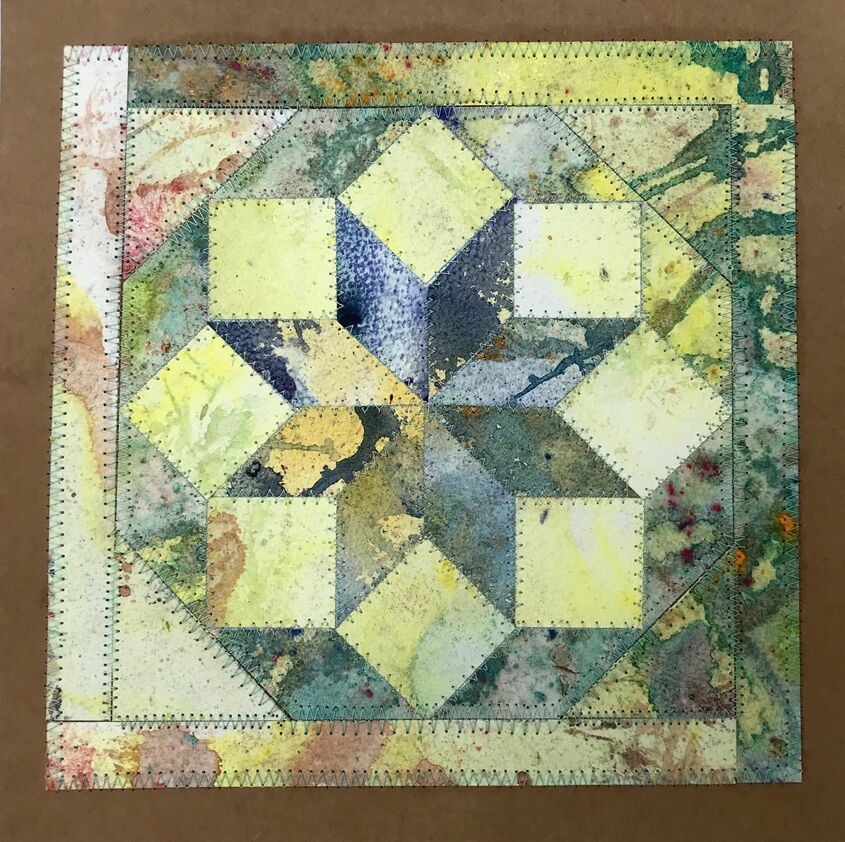 "Collage 'yellow star' 7"" x 7"" watercolour paper and embroidery"
