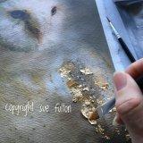 applying Gold Leaf to my artwork - The Gilded Barn Owl