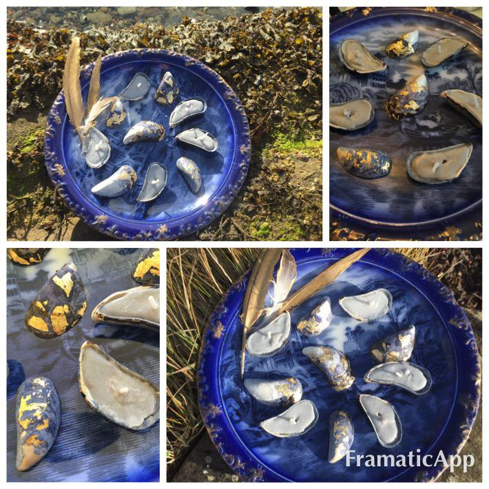 Mussel shell candles and Gold Leafed shells