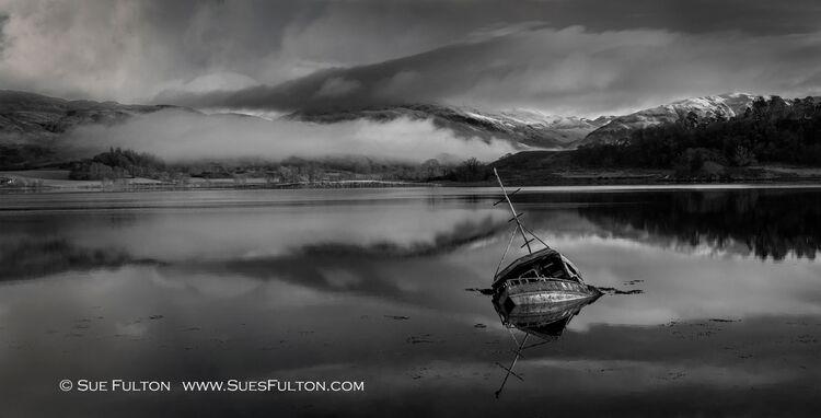 Loch Etive Boat in B&W