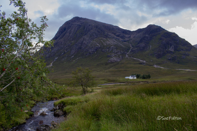 Lagangarbh Cottage and stream, north side of Buachaille Etive Mor, Glencoe