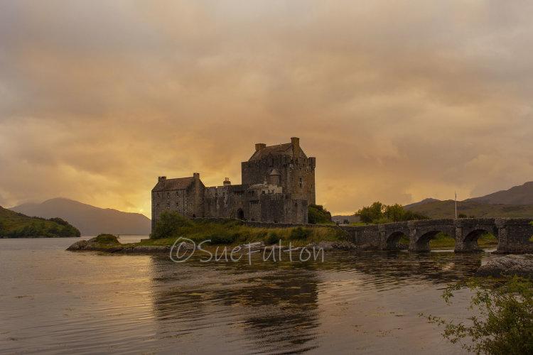 Eilean Donan and the Fading Sun, Dornie, near Kyle of Lochalsh