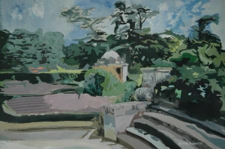 The Gardens at Luton Hoo, England. Watercolour and Gouache