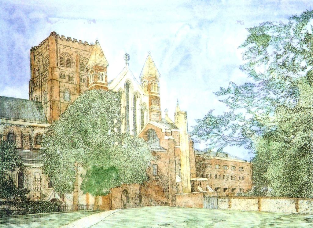 Thomas Plunkett PRWS, St Albans Cathedral from the SW Aspect, Hand Watercoloured, Limited Edition Print.
