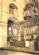 Thomas Plunkett PRWS, The Nave Altar, St Albans Cathedral, Hand Watercoloured Print.