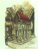 Thomas Plunkett PRWS, The Shrine of St Albans, St Albans Cathedral, Hand Watercoloured Print