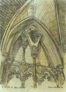 Thomas Plunkett PRWS, The West Door, St Albans Cathedral, Hand Watercoloured Print