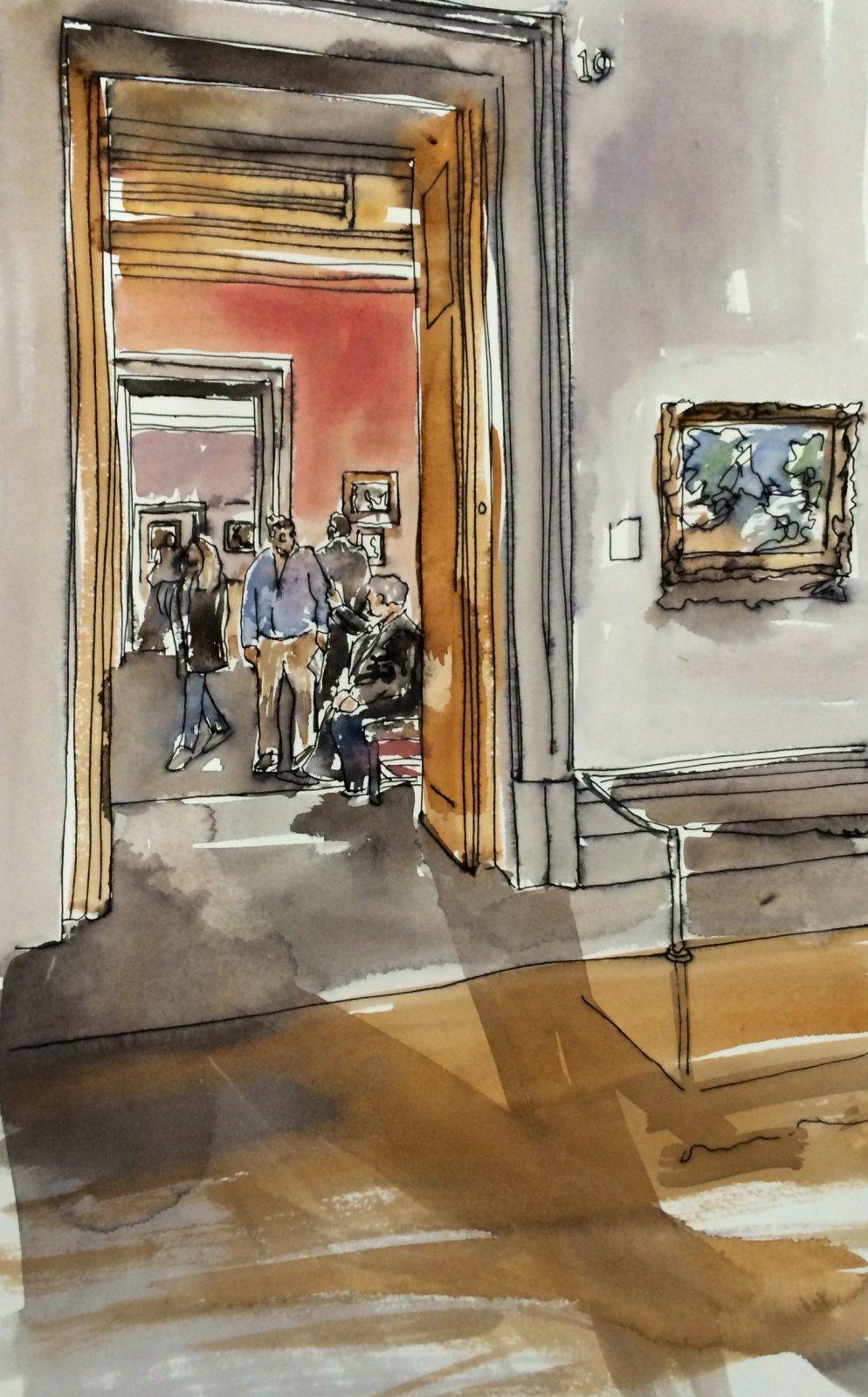 National Gallery Interior II, Thomas Plunkett PRWS