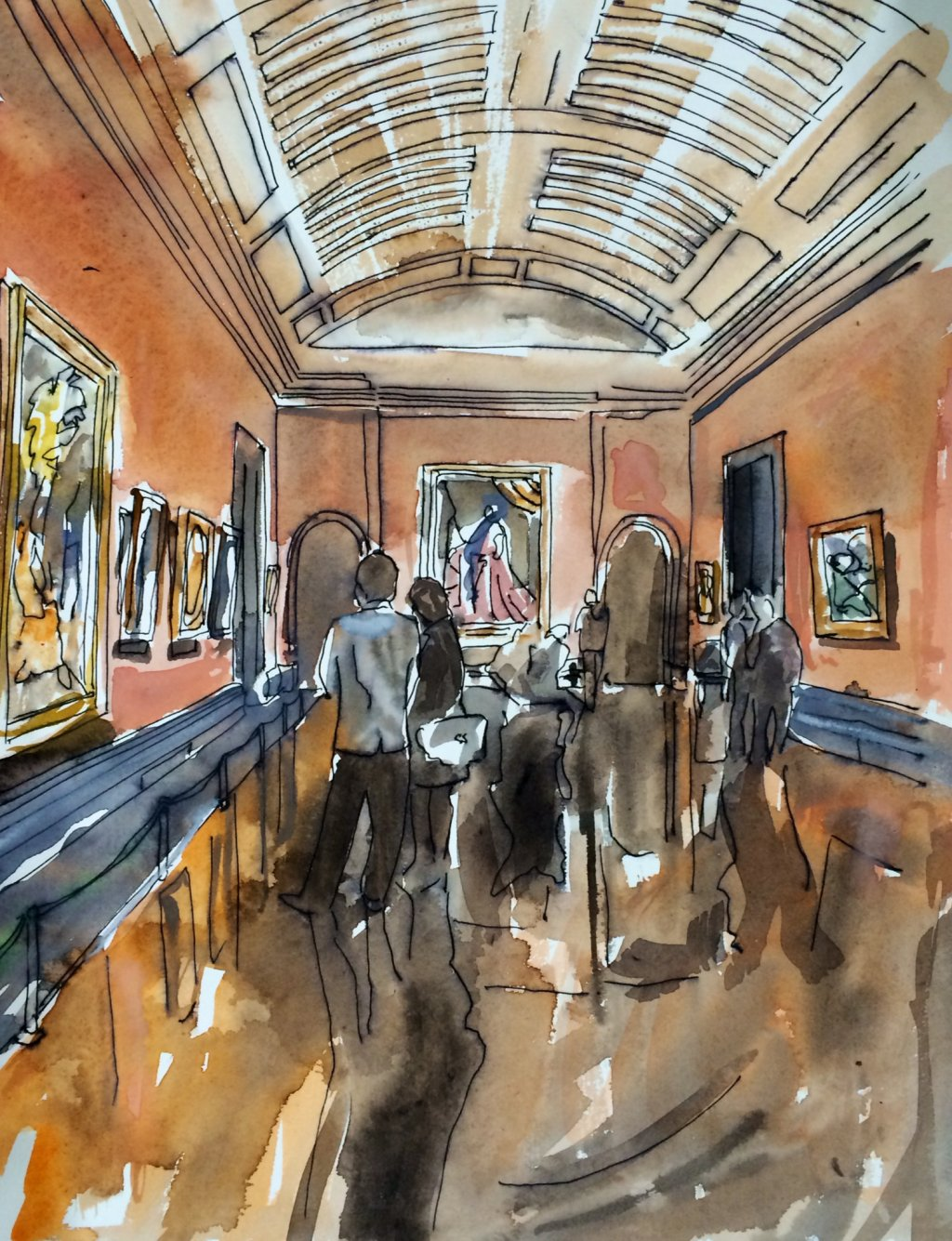 National Gallery Interior III, Thomas Plunkett PRWS