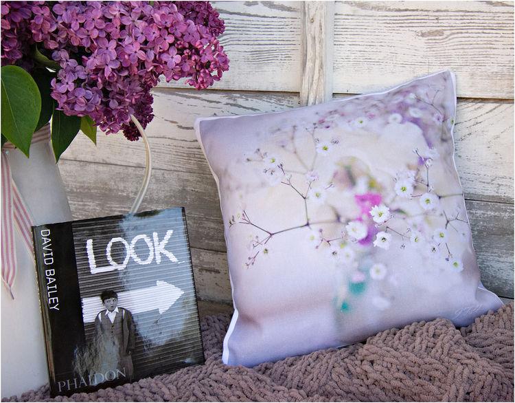 lilac floral art cushons