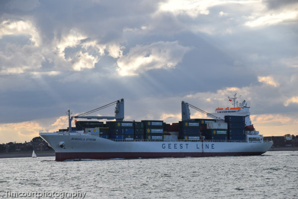 Cargo ship out of Portsmouth
