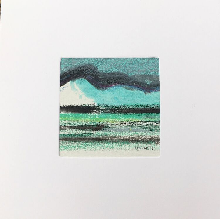 07BL £6.00 Tiny Original Painting enclosed in 5x5inches greeting card.