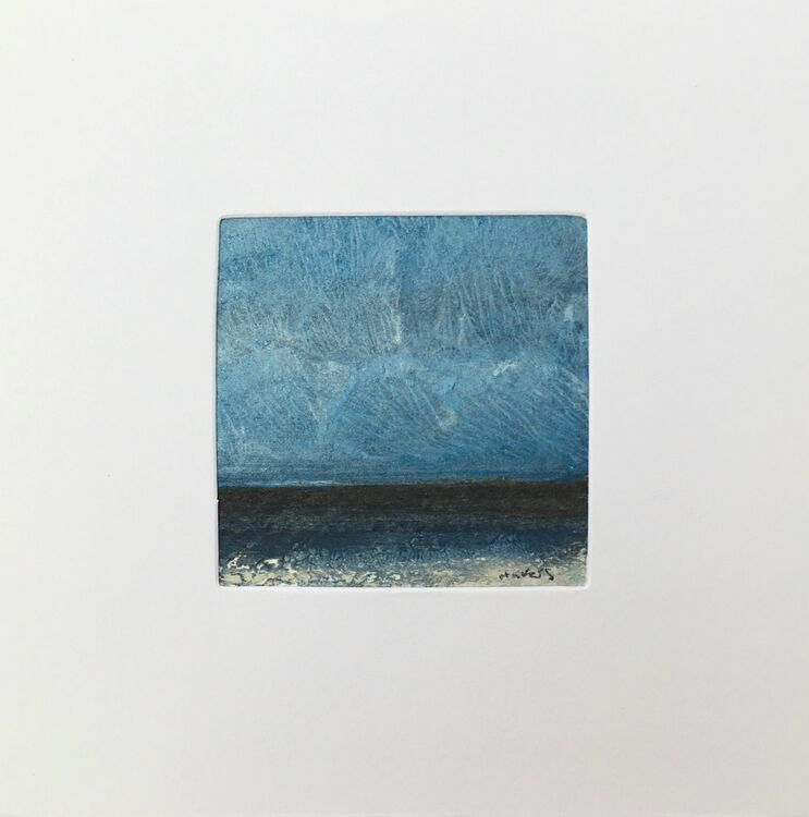 06BL £6.00 Tiny Original Painting enclosed in 5x5inches greeting card.