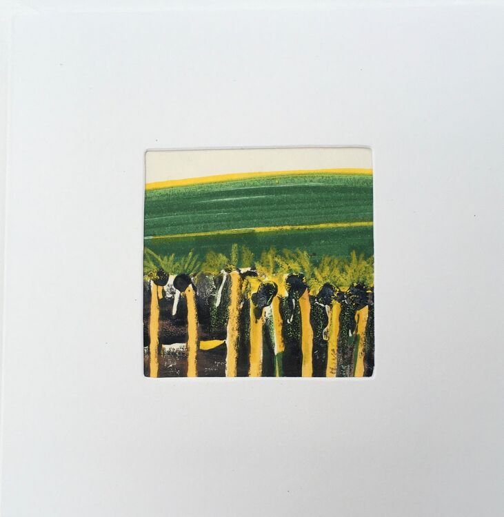 01 GRN £6.00 Tiny Original Painting enclosed in 5x5inches greeting card.