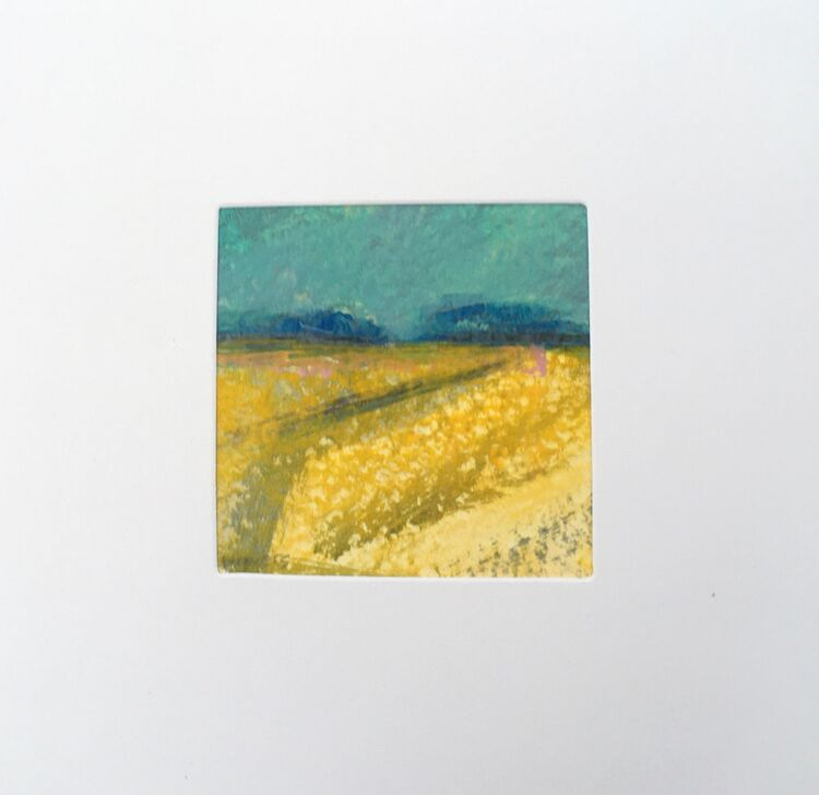 02YL £6.00 Tiny Original Painting enclosed in 5x5inches greeting card.