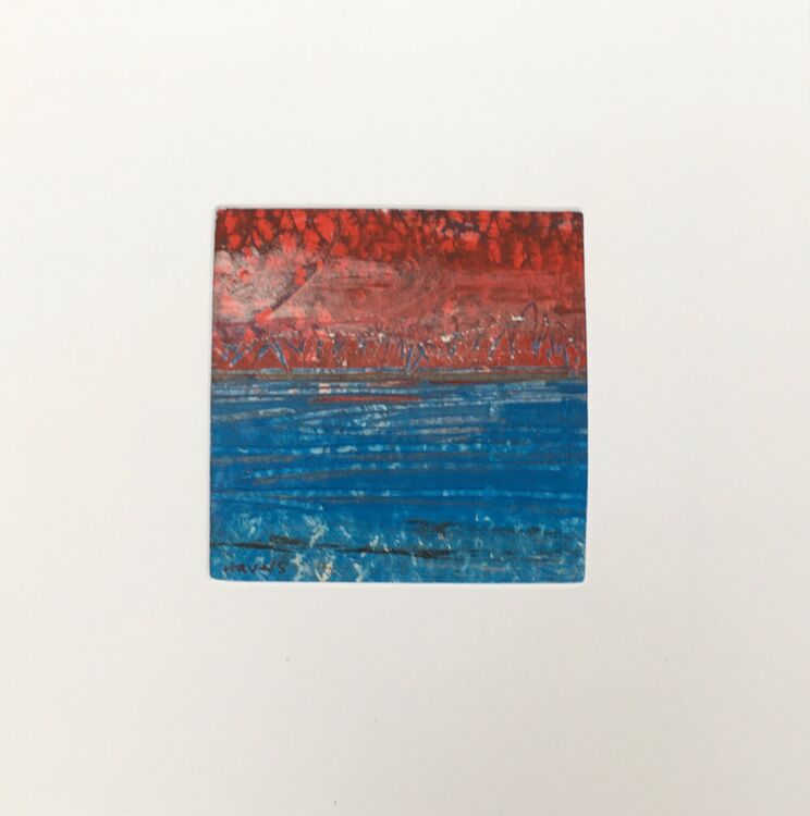 01RD £6.00 Tiny Original Painting enclosed in 5x5inches greeting card.