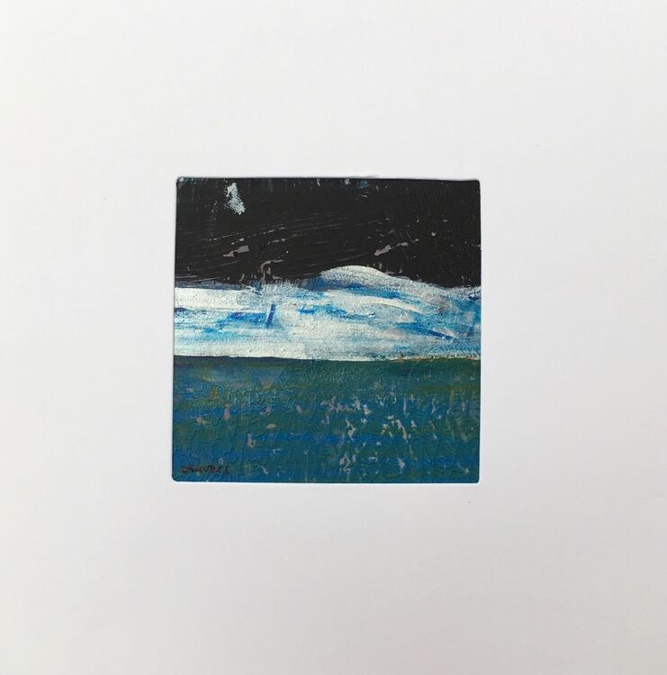 05BL £6.00 Tiny Original Painting enclosed in 5x5inches greeting card.